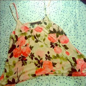 Tahari | Floral strappy tank top | Size Large